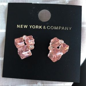 Jewelry - Pink crystal and rose gold statement earrings